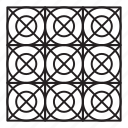 arab, grid, pattern, round icon