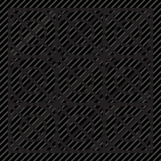 arab, grid, pattern, round icon