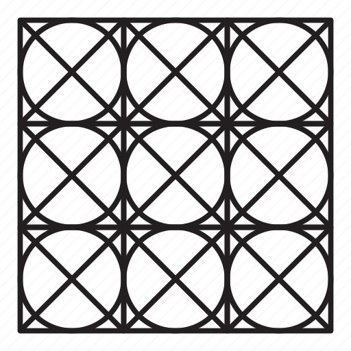 arab, grid, pattern, round, x mark icon