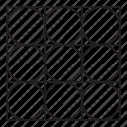 arab, grid, line, pattern, round icon