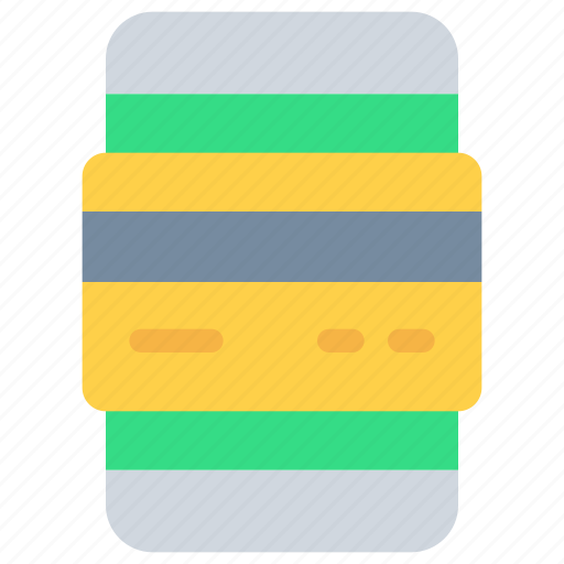 banking, card, credit, payment, shopping, smartphone icon