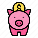 coin, money, payment, piggy bank, save icon