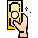 cash, currency, economic, finance, hand, money, payment icon