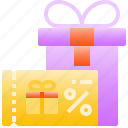 commerce, coupon, discount, gift, shopping, voucher icon