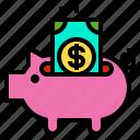 dollar, money, payment, piggy, saving icon