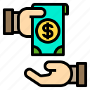 cash, exchange, hand, money, payment icon
