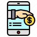 card, cash, mobile, payment, smartphone icon