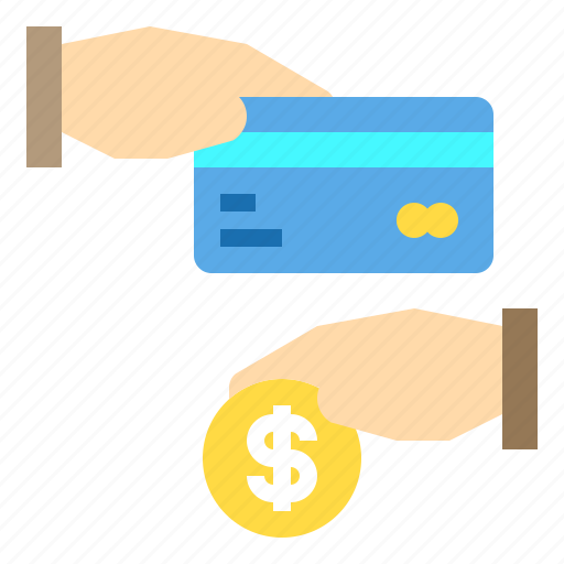card, coin, credit, hand, payment icon