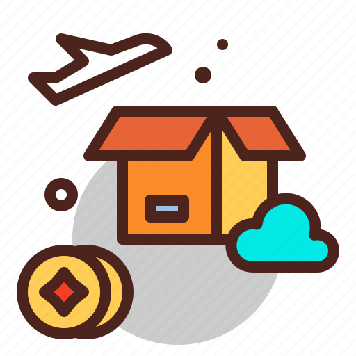 air, box, coin, delivery, flight, pay, plane icon