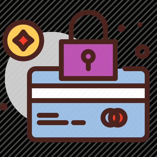 card, debit, lock, pay icon