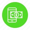 dollar, mobile, money, online, payment, phone, transaction icon
