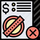 error, fault, billing, document, illegal icon