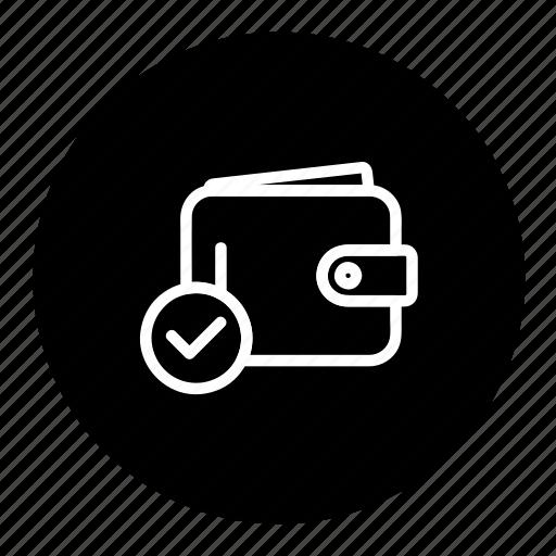 cash, money, payment, purse, verify, wallet icon