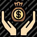 bag, business, cash, dollar, finance, money, profit