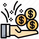 business, commerce, get, money, payment, profit, shopping icon