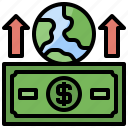 transaction, commerce, grid, global, earth, shopping, up icon