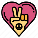 hand, heart, love, peace icon