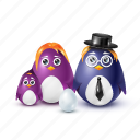 dad, pinguin, necktie, family, hat, mother, father, child, egg