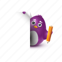 declaration, document, pencil, pinguin, secretary icon