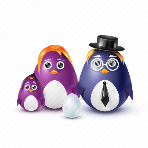 child, dad, egg, family, father, hat, mother, necktie, pinguin icon