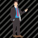 businessman, businessman presentation, entrepreneur, handsome character, welcome gesture icon