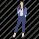 female avatar, female using mobile, modern female, standing human, stylish girl icon