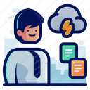 cloud, data, document, documents, man, storm, transfer icon