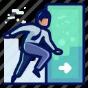 account, arrow, door, enter, login, man, user icon