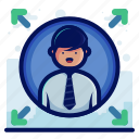 account, arrow, data, exchange, man, transfer, user icon