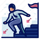 achievement, arrow, fall, ladder, man, user icon