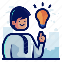 idea, innovation, lightbulb, man, thought icon