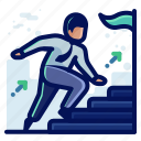 achievement, arrow, ladder, man, rise, user icon