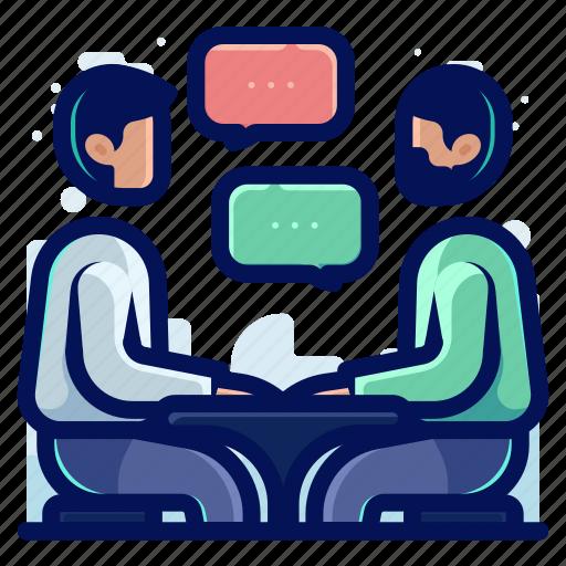 chat, communication, conversation, sit, talk icon