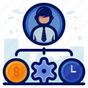 clock, management, money, preferences, settings, time icon