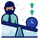 arrow, clock, man, time, weigh icon