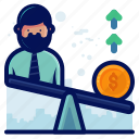 arrow, dollar, finance, man, money, weigh icon