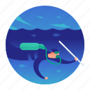 diver, diving, fishing, scuba, spear fishing icon