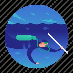 diver, diving, fishing, scuba, spear fishing