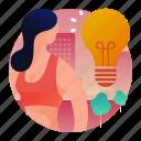 bulb, idea, smart, thinking icon