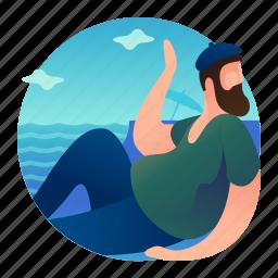 beach, posing, relax, relaxing, water