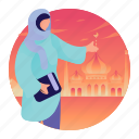 islam, islamic, mosque, woman, worshipping icon