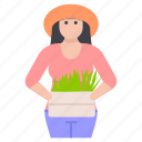 farmer woman, female gardener, gardener, girl farmer, horticulturist icon