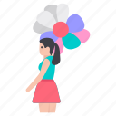 balloon girl, entertainment, fun activity, girl holding balloons, girl with balloons icon