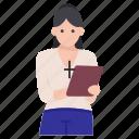 abbess, christian girl, christian nanny, nun, prioress, sister, vestal icon