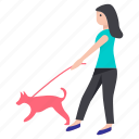 animal walker, dog caretaker, dog trainer, dog walker, pet walker icon
