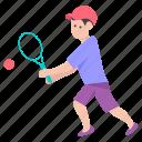 athlete, male tennis player, sports boy, sportsman, sportsperson, young player icon