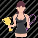 achievement, championship, female winner, success, trophy winner icon