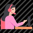 customer representative, customer service, customer support, female operator, telemarketing icon
