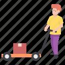 carrying luggage, man carrying luggage, man carrying pushcart, man pushing cart, porter icon