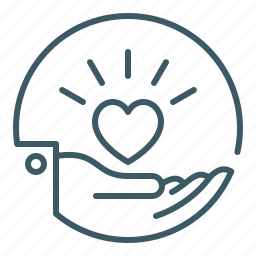 charity, give, hand, health, heart, love, offer icon